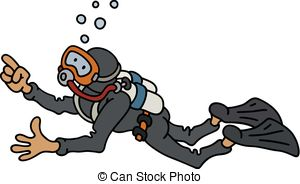 diver in a black neoprene hand darwing of a funny diver in a black neoprene illustration csp51851823